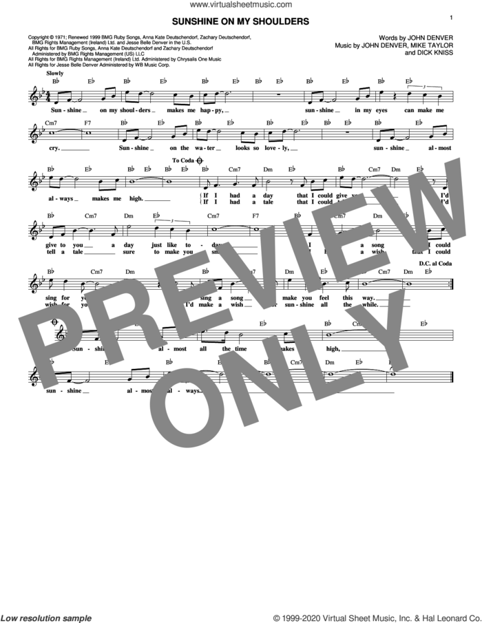 Sunshine On My Shoulders sheet music for voice and other instruments (fake book) by John Denver, Dick Kniss and Mike Taylor, intermediate skill level