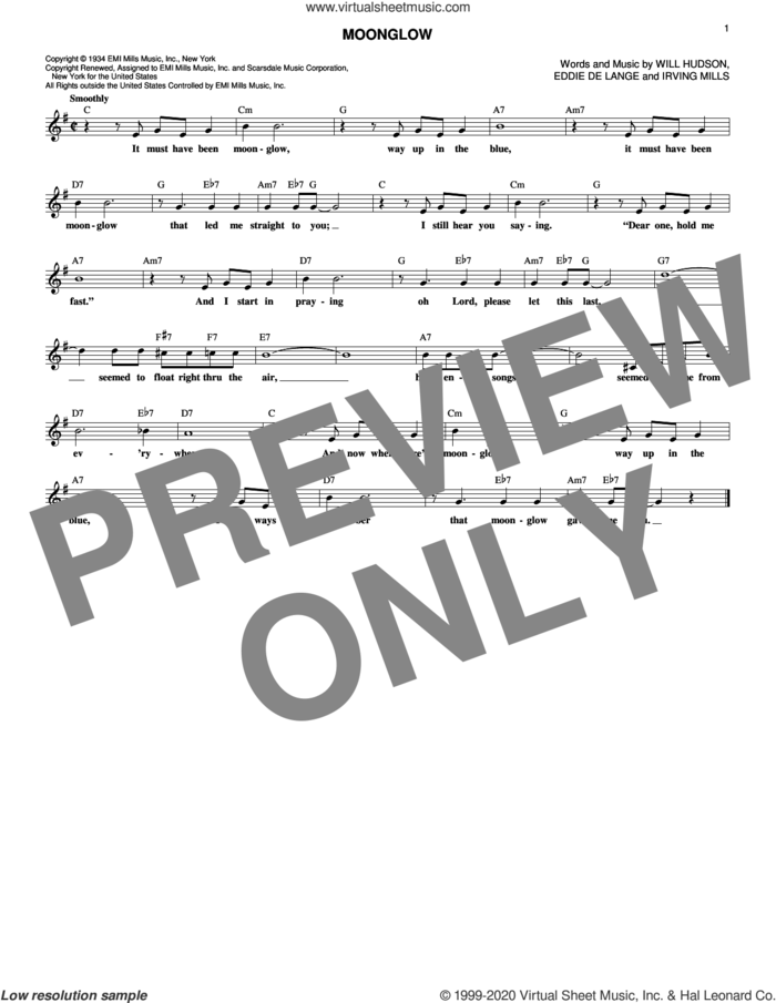 Moonglow sheet music for voice and other instruments (fake book) by Irving Mills, Eddie DeLange, Will Hudson and Will Hudson, Eddie DeLange and Irving Mills, intermediate skill level