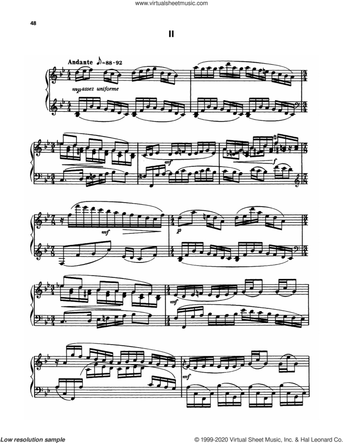 Suite For Piano - II. Andante sheet music for piano solo by Francis Poulenc, classical score, intermediate skill level