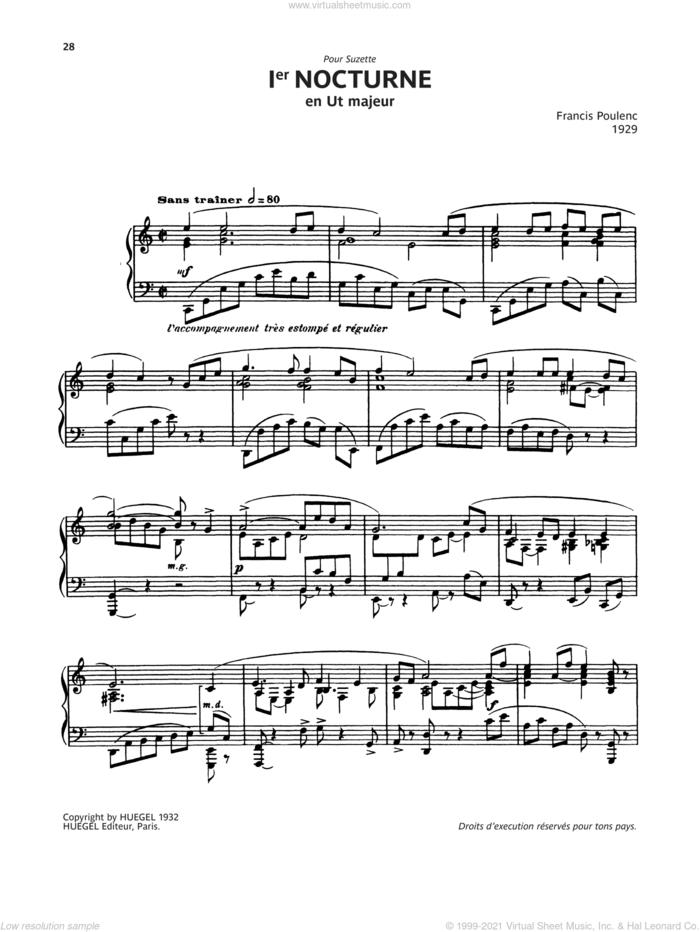 Nocturne No. 1 sheet music for piano solo by Francis Poulenc, classical score, intermediate skill level