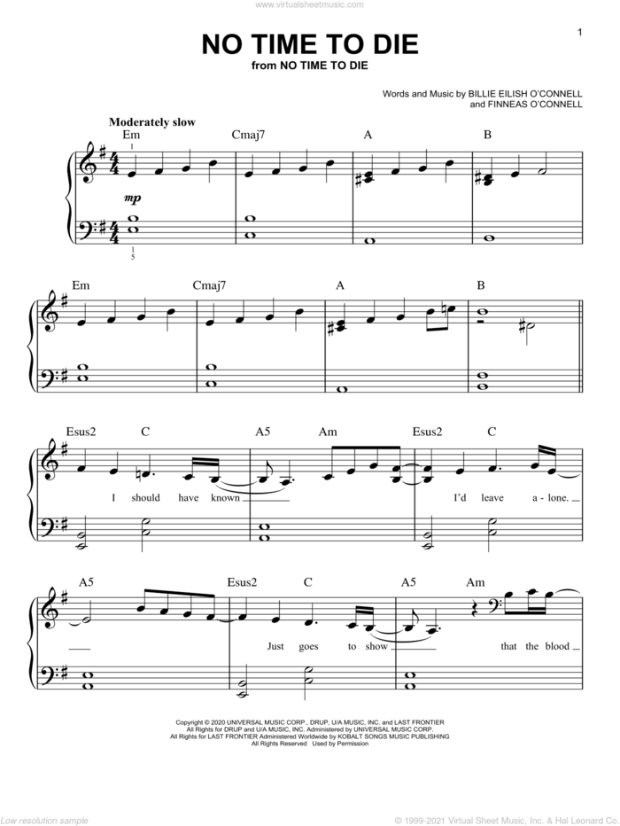 No Time To Die, (easy) sheet music for piano solo by Billie Eilish, easy skill level