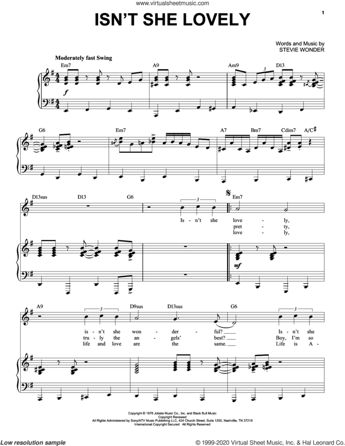 Isn't She Lovely [Jazz version] (arr. Brent Edstrom) sheet music for voice and piano (High Voice) by Stevie Wonder, intermediate skill level