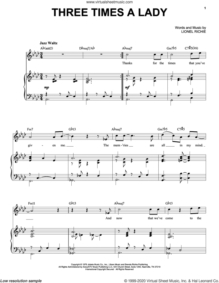 Three Times A Lady [Jazz version] (arr. Brent Edstrom) sheet music for voice and piano (High Voice) by The Commodores and Lionel Richie, intermediate skill level
