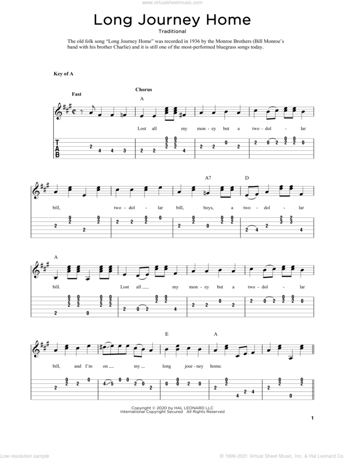 Long Journey Home (arr. Fred Sokolow) sheet music for guitar solo  and Fred Sokolow, intermediate skill level