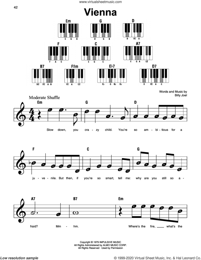 Vienna sheet music for piano solo by Billy Joel, beginner skill level