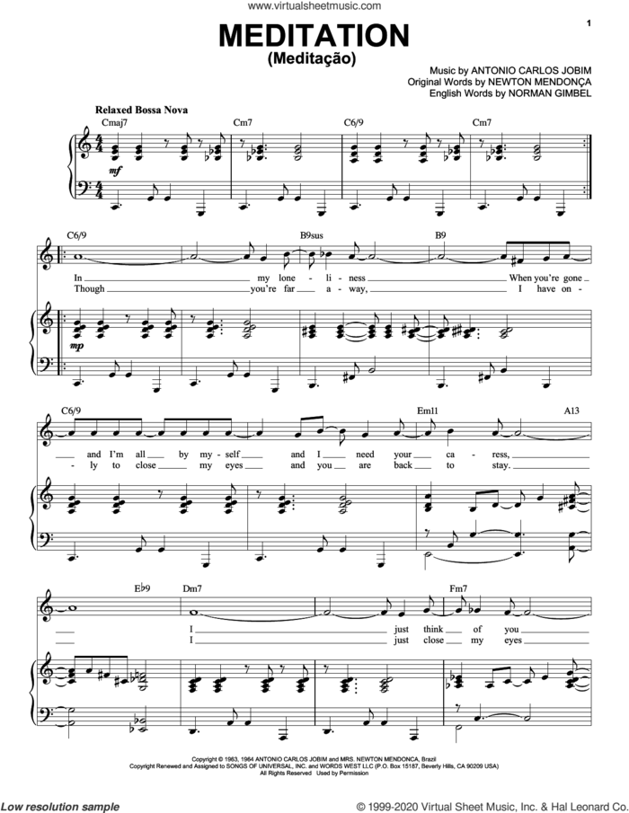 Meditation (Meditacao) [Jazz version] (arr. Brent Edstrom) sheet music for voice and piano (High Voice) by Norman Gimbel, Antonio Carlos Jobim and Newton Mendonca, intermediate skill level