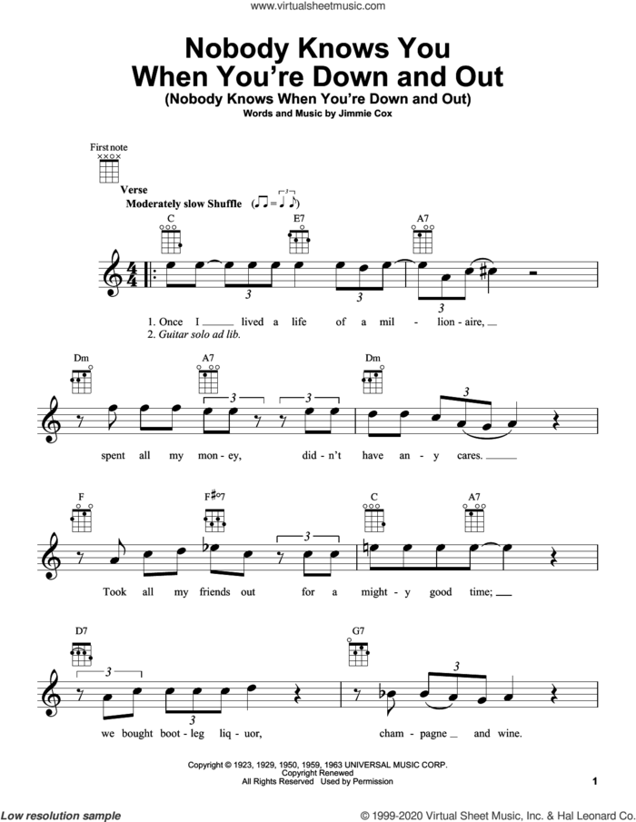 Nobody Knows You When You're Down And Out (Nobody Knows When You're Down And Out) sheet music for ukulele by Eric Clapton and Jimmie Cox, intermediate skill level