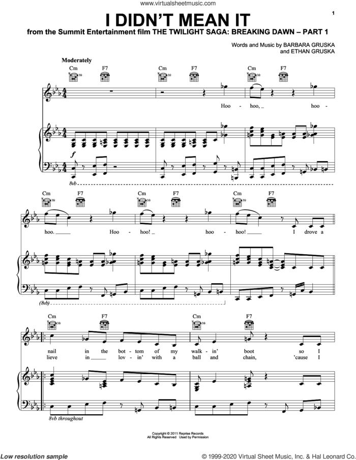 I Didn't Mean It (from The Twilight Saga: Breaking Dawn, Part 1) sheet music for voice, piano or guitar by The Belle Brigade, Barbara Gruska and Ethan Gruska, intermediate skill level