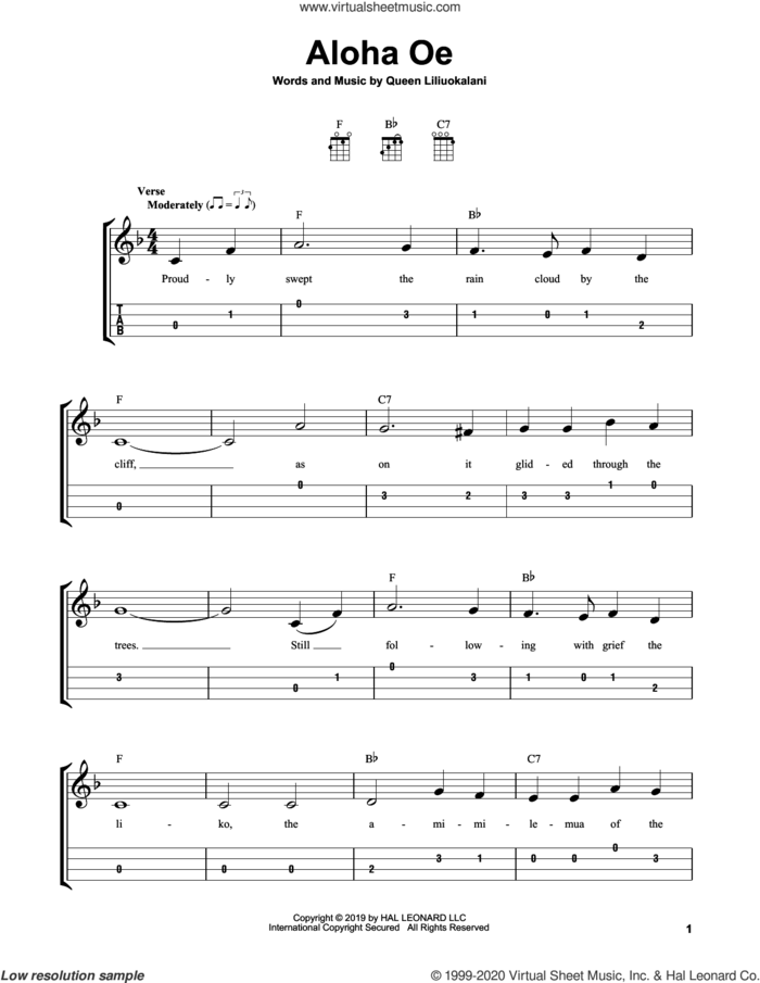 Aloha Oe sheet music for ukulele (easy tablature) (ukulele easy tab) by Queen Liliuokalani, intermediate skill level