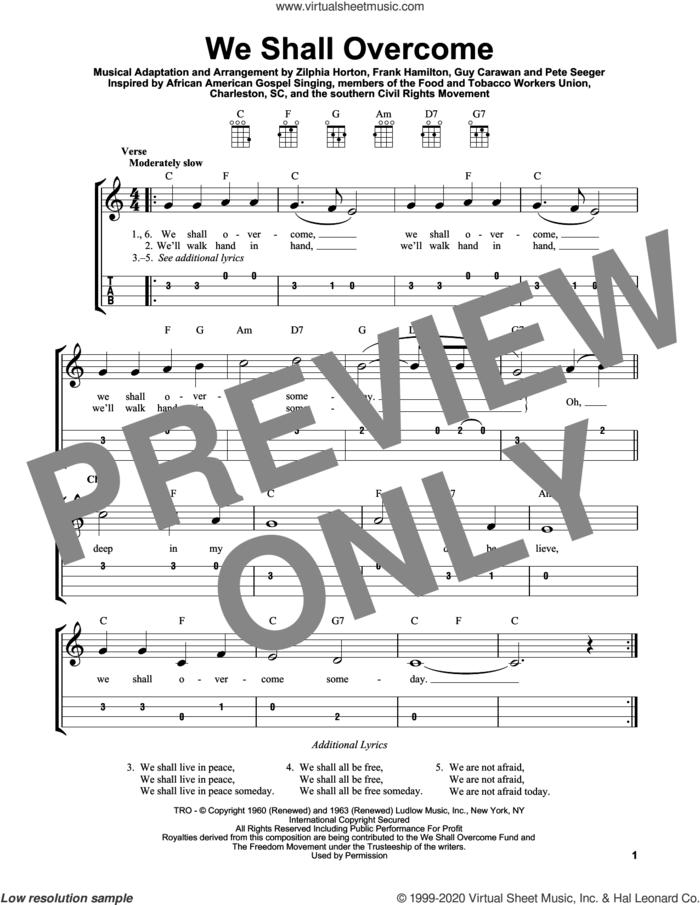 We Shall Overcome sheet music for ukulele (easy tablature) (ukulele easy tab) by Pete Seeger, Frank Hamilton, Guy Carawan and Zilphia Horton, intermediate skill level