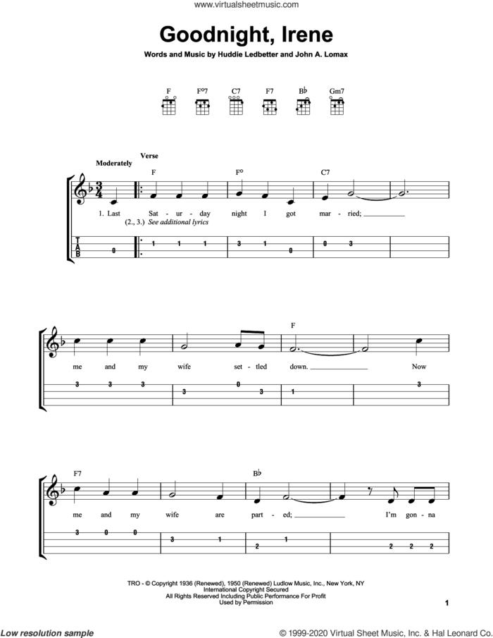 Goodnight, Irene sheet music for ukulele (easy tablature) (ukulele easy tab) by Peter, Paul & Mary, Huddie Ledbetter and John A. Lomax, intermediate skill level