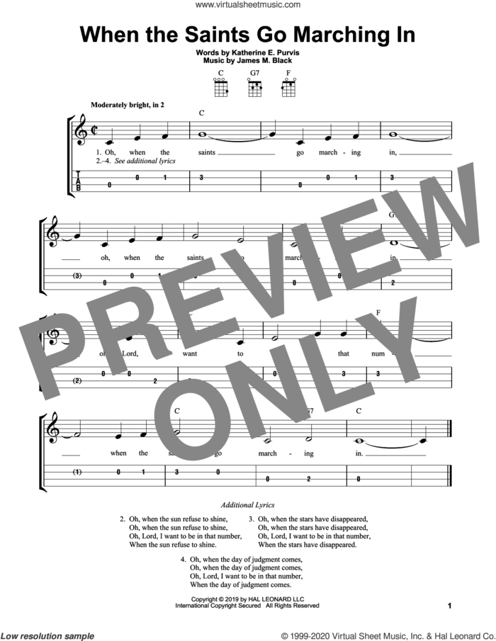 When The Saints Go Marching In sheet music for ukulele (easy tablature) (ukulele easy tab) by Louis Armstrong, James M. Black and Katherine E. Purvis, intermediate skill level