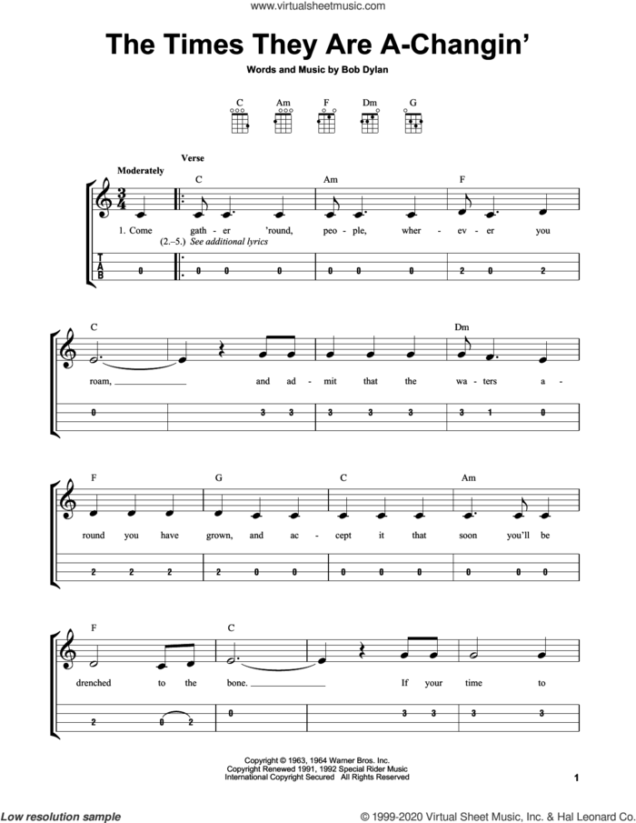 The Times They Are A-Changin' sheet music for ukulele (easy tablature) (ukulele easy tab) by Bob Dylan, intermediate skill level