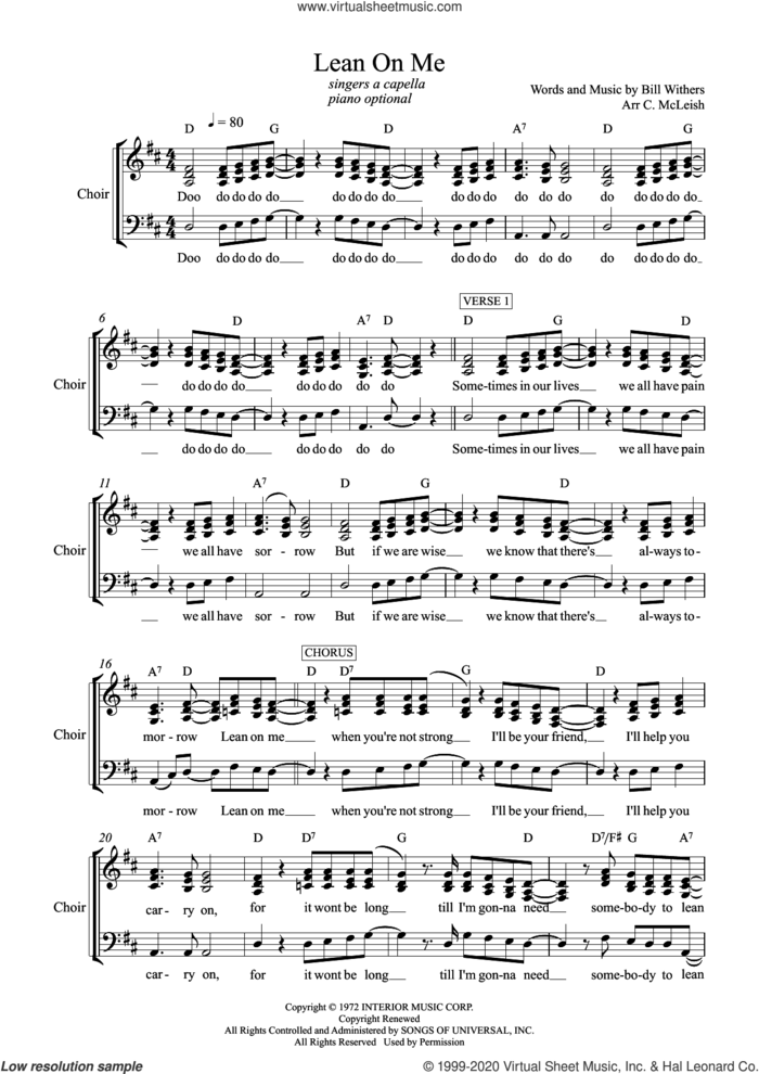 Lean on Me (arr. Craig McLeish) sheet music for choir (SATB: soprano, alto, tenor, bass) by Bill Withers and Craig McLeish, intermediate skill level