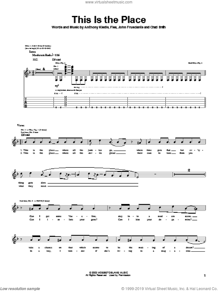This Is The Place sheet music for guitar (tablature) by Red Hot Chili Peppers, Anthony Kiedis, Flea and John Frusciante, intermediate skill level