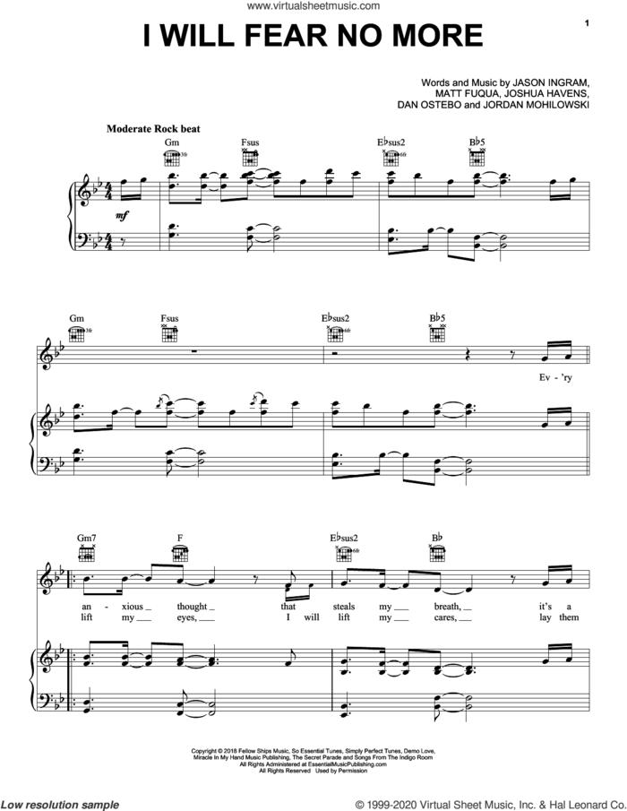 I Will Fear No More sheet music for voice, piano or guitar by The Afters, Dan Ostebo, Jason Ingram, Jordan Mohilowski, Joshua Havens and Matt Fuqua, intermediate skill level