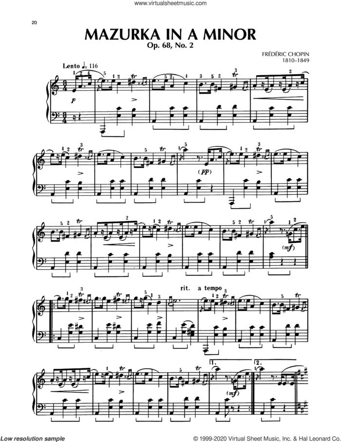 Mazurka, Op. 68, No. 2 sheet music for piano solo by Frederic Chopin, classical score, intermediate skill level