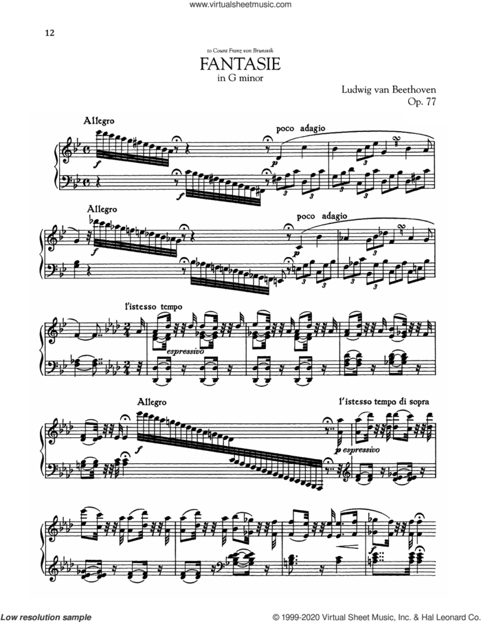 Fantasie, Op. 77 sheet music for piano solo by Ludwig van Beethoven, classical score, intermediate skill level
