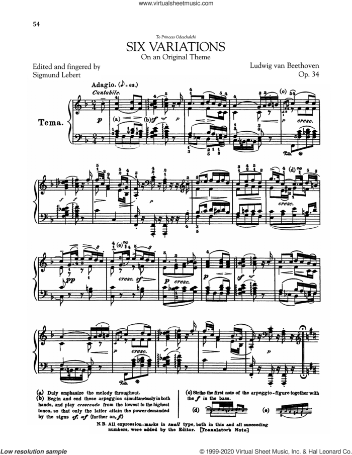 6 Variations, Op. 34 sheet music for piano solo by Ludwig van Beethoven, classical score, intermediate skill level