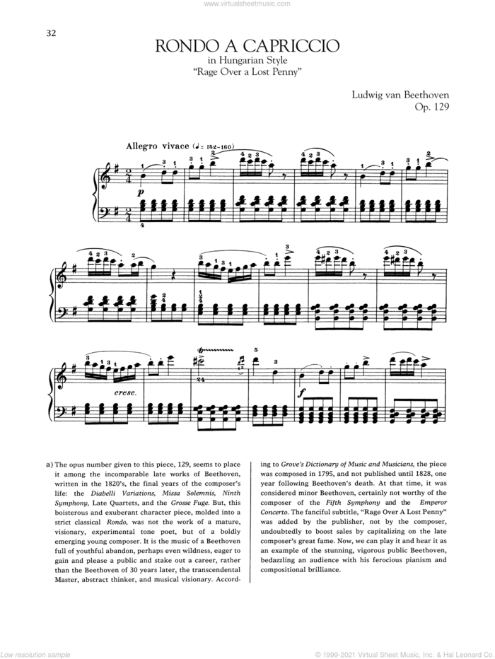Rondo A Capriccio In Hungarian Style, Op. 129 sheet music for piano solo by Ludwig van Beethoven, classical score, intermediate skill level