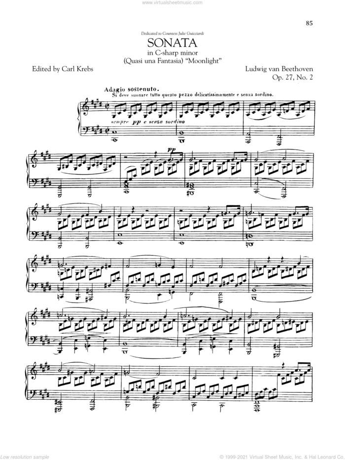Piano Sonata No. 14, Op. 27, No. 2 ('Moonlight') sheet music for piano solo by Ludwig van Beethoven, classical score, intermediate skill level