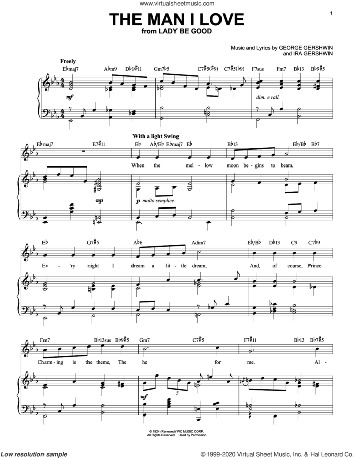 The Man I Love [Jazz version] (arr. Brent Edstrom) sheet music for voice and piano (High Voice) by George Gershwin and Ira Gershwin, intermediate skill level