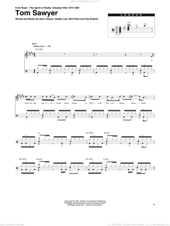 Tom Sawyer sheet music for drums by Rush, Alex Lifeson, Geddy Lee, Neil Peart and Pye Dubois, intermediate skill level
