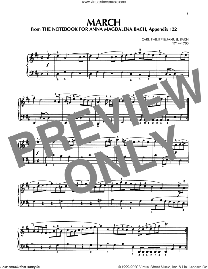 March In D Major, BWV Appendix 122 sheet music for piano solo by Carl Philipp Emanuel Bach and Carl Philip Emanuel Bach, classical score, intermediate skill level