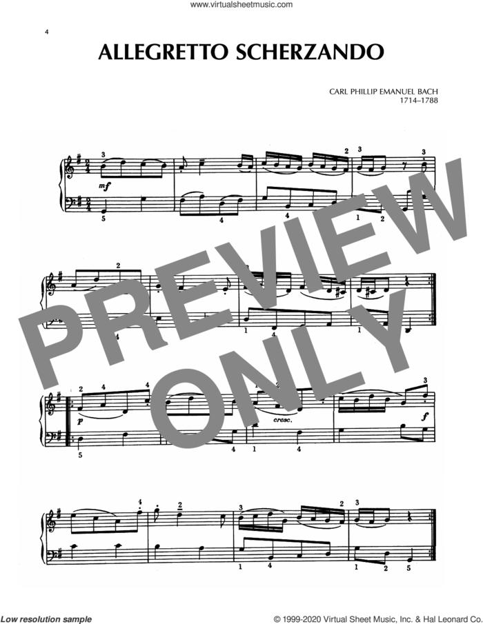 Allegretto Scherzando sheet music for piano solo by Carl Philipp Emanuel Bach and Carl Philip Emanuel Bach, classical score, intermediate skill level