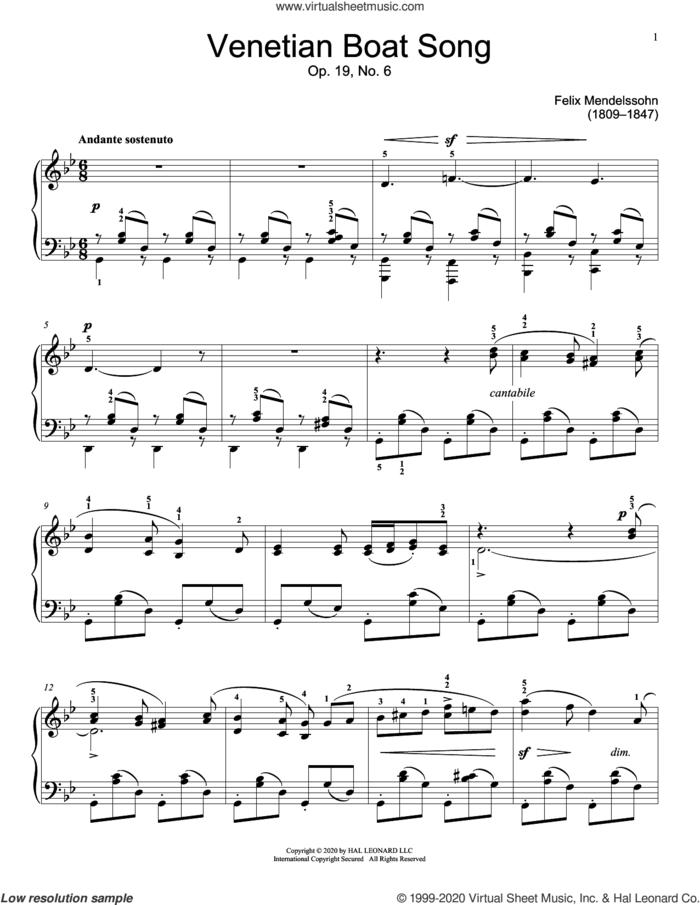 Venetian Boat Song, Op. 19, No. 6 sheet music for piano solo (elementary) by Felix Mendelssohn-Bartholdy and Jennifer Linn, classical score, beginner piano (elementary)