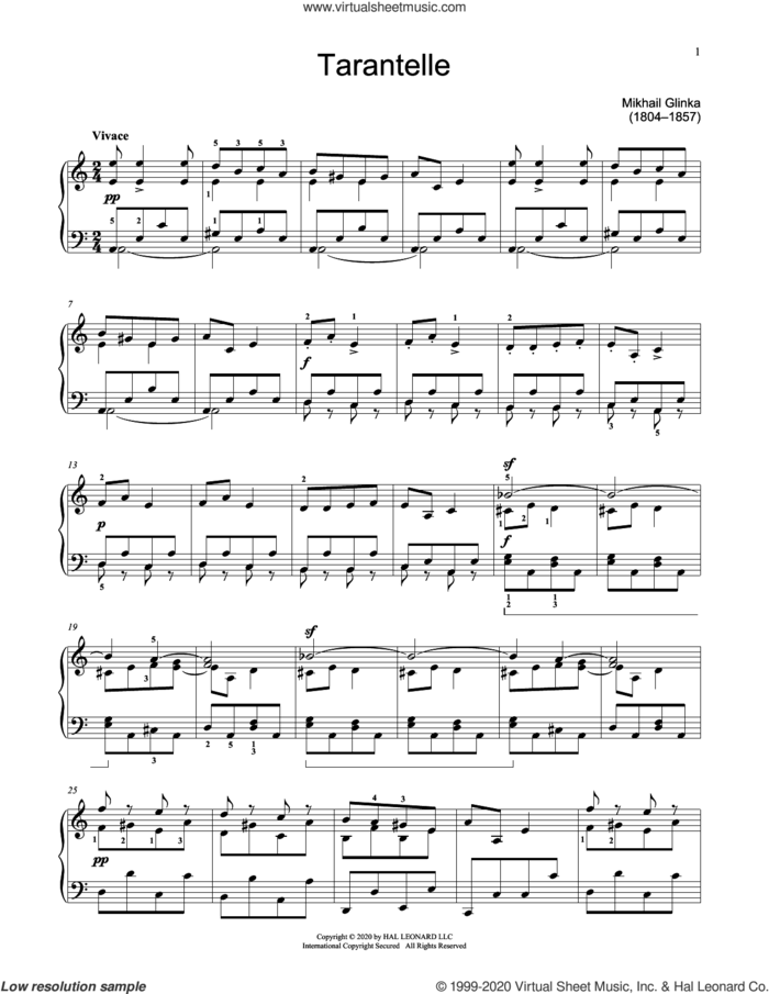 Tarantella In A Minor sheet music for piano solo (elementary) by Mikhail Ivanovich Glinka and Jennifer Linn, classical score, beginner piano (elementary)
