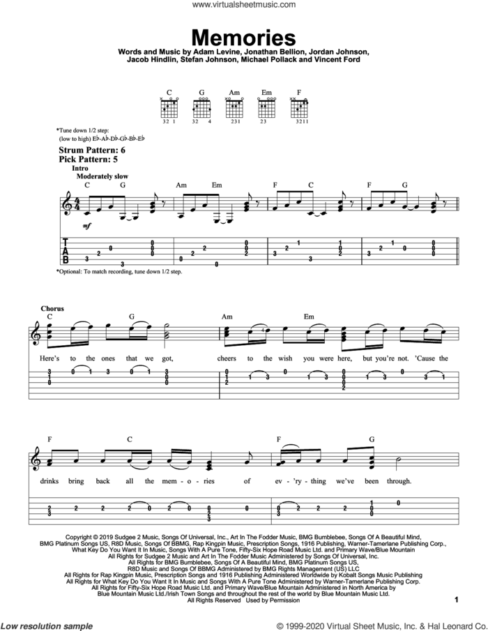 Memories sheet music for guitar solo (easy tablature) by Maroon 5, Adam Levine, Jacob Hindlin, Jon Bellion, Michael Pollack, Stefan Johnson and Vincent Ford, easy guitar (easy tablature)