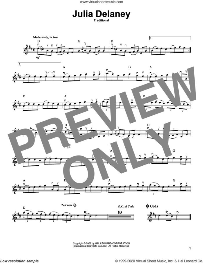 Julia Delaney sheet music for violin solo, intermediate skill level