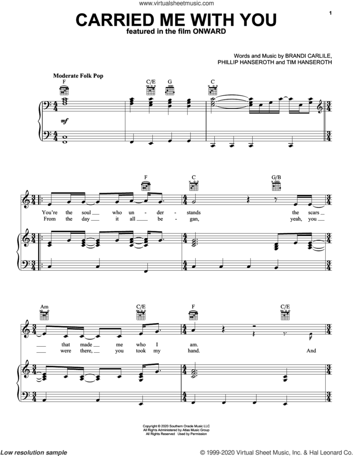 Carried Me With You (from Onward) sheet music for voice, piano or guitar by Brandi Carlile, Phillip Hanseroth and Timothy Jay Hanseroth, intermediate skill level
