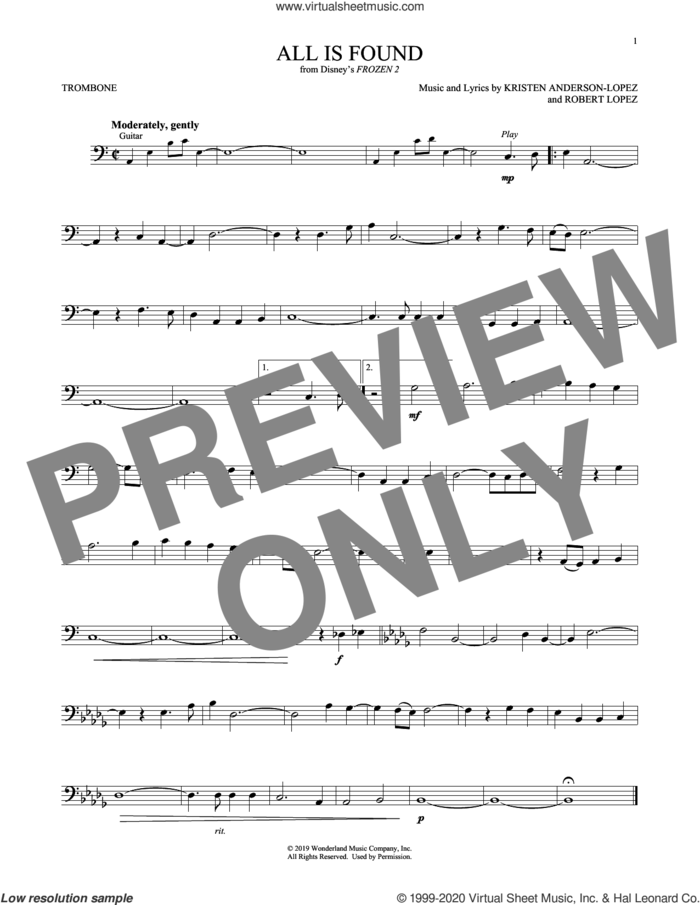All Is Found (from Disney's Frozen 2) sheet music for trombone solo by Evan Rachel Wood, Kristen Anderson-Lopez and Robert Lopez, intermediate skill level