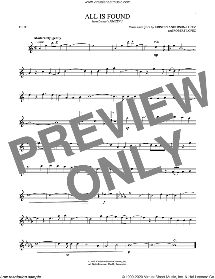All Is Found (from Disney's Frozen 2) sheet music for flute solo by Evan Rachel Wood, Kristen Anderson-Lopez and Robert Lopez, intermediate skill level