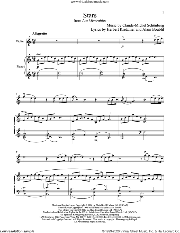 Stars (from Les Miserables) sheet music for violin and piano by Alain Boublil, Boublil and Schonberg, Claude-Michel Schonberg, Claude-Michel Schonberg and Herbert Kretzmer, intermediate skill level