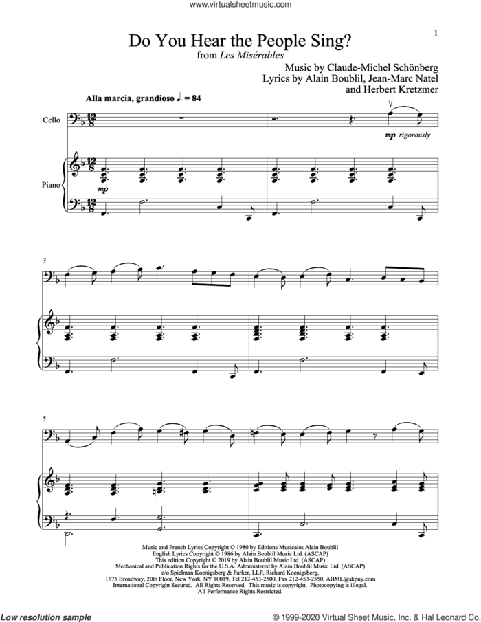 Do You Hear The People Sing? (from Les Miserables) sheet music for cello and piano by Alain Boublil, Boublil and Schonberg, Claude-Michel Schonberg, Claude-Michel Schonberg, Herbert Kretzmer and Jean-Marc Natel, intermediate skill level
