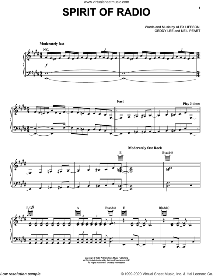 Spirit Of Radio sheet music for voice, piano or guitar by Rush, Alex Lifeson, Geddy Lee and Neil Peart, intermediate skill level
