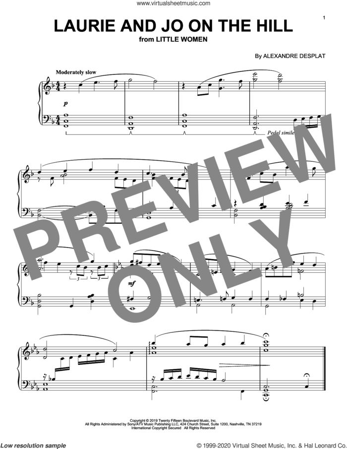 Laurie And Jo On The Hill (from the Motion Picture Little Women) sheet music for piano solo by Alexandre Desplat, intermediate skill level