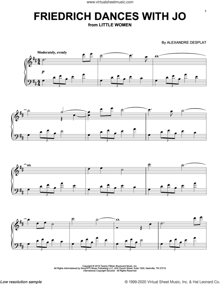 Friederich Dances With Jo (from the Motion Picture Little Women) sheet music for piano solo by Alexandre Desplat, intermediate skill level