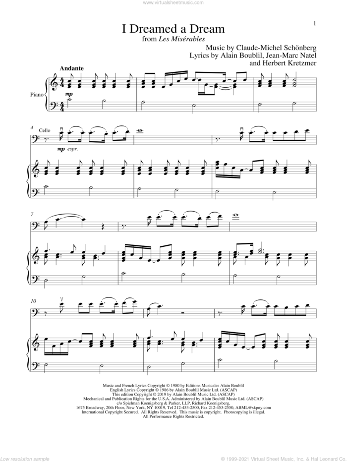 I Dreamed A Dream (from Les Miserables) sheet music for cello and piano by Alain Boublil, Boublil and Schonberg, Claude-Michel Schonberg, Herbert Kretzmer and Jean-Marc Natel, intermediate skill level