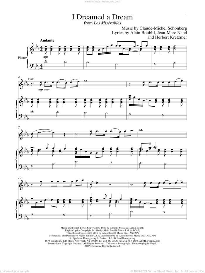 I Dreamed A Dream (from Les Miserables) sheet music for flute and piano by Alain Boublil, Boublil and Schonberg, Claude-Michel Schonberg, Herbert Kretzmer and Jean-Marc Natel, intermediate skill level