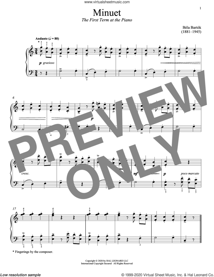 The First Term At The Piano, Minuet sheet music for piano solo by Bela Bartok, Immanuela Gruenberg and Bela Bartok, classical score, intermediate skill level