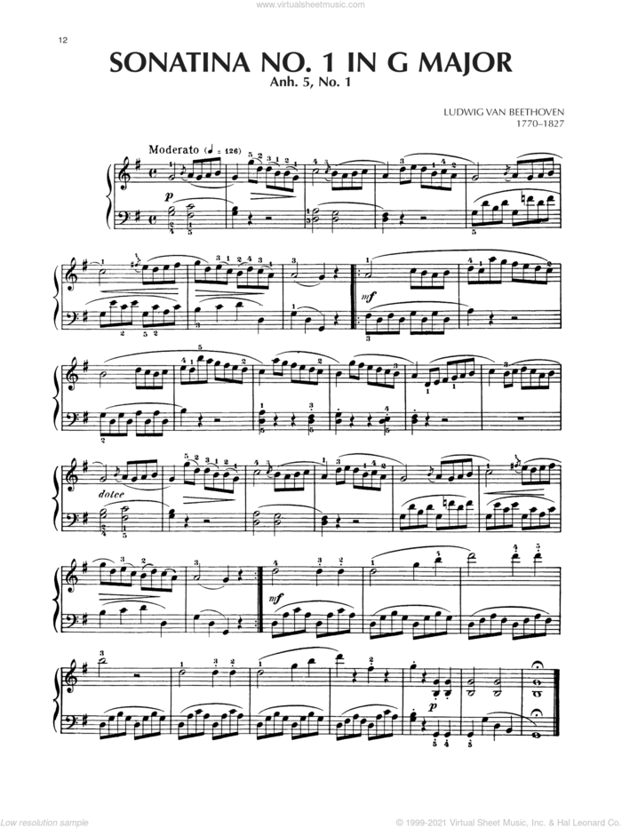 Sonatina In G Major, Anh. 5, No. 1 sheet music for piano solo by Ludwig van Beethoven, classical score, intermediate skill level