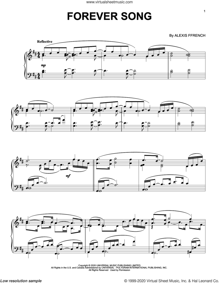 Forever Song sheet music for piano solo by Alexis Ffrench, classical score, intermediate skill level