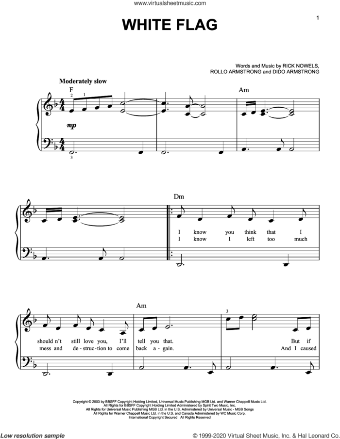 White Flag sheet music for piano solo by Dido Armstrong, Rick Nowels and Rollo Armstrong, beginner skill level