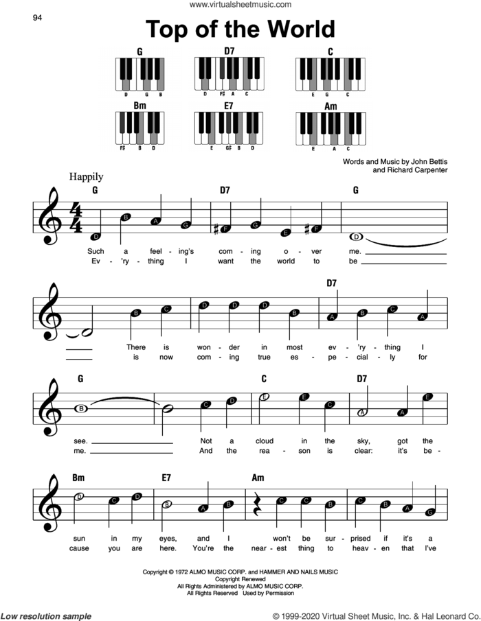 Top Of The World, (beginner) sheet music for piano solo by Richard Carpenter, Carpenters and John Bettis, beginner skill level