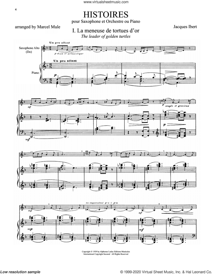 Histoires (arr. Marcel Mule) sheet music for alto saxophone and piano by Jacques Ibert and Marcel Mule, classical score, intermediate skill level