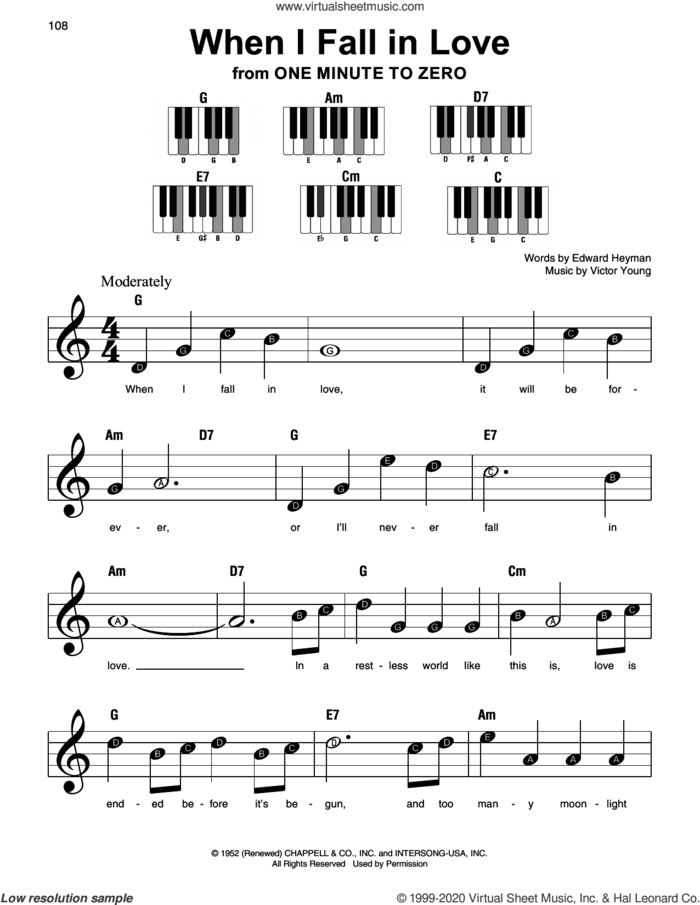 When I Fall In Love (from One Minute To Zero) sheet music for piano solo by Edward Heyman and Victor Young, beginner skill level